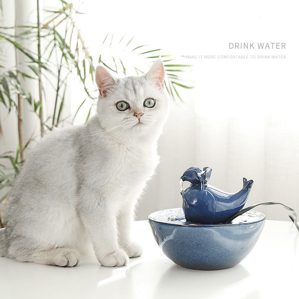 PT 고양이음수대 돌고래정수기 도자기 세라믹 분수대 정수기필터 정수기모터 음수량개선 정수기, 차콜(무광)