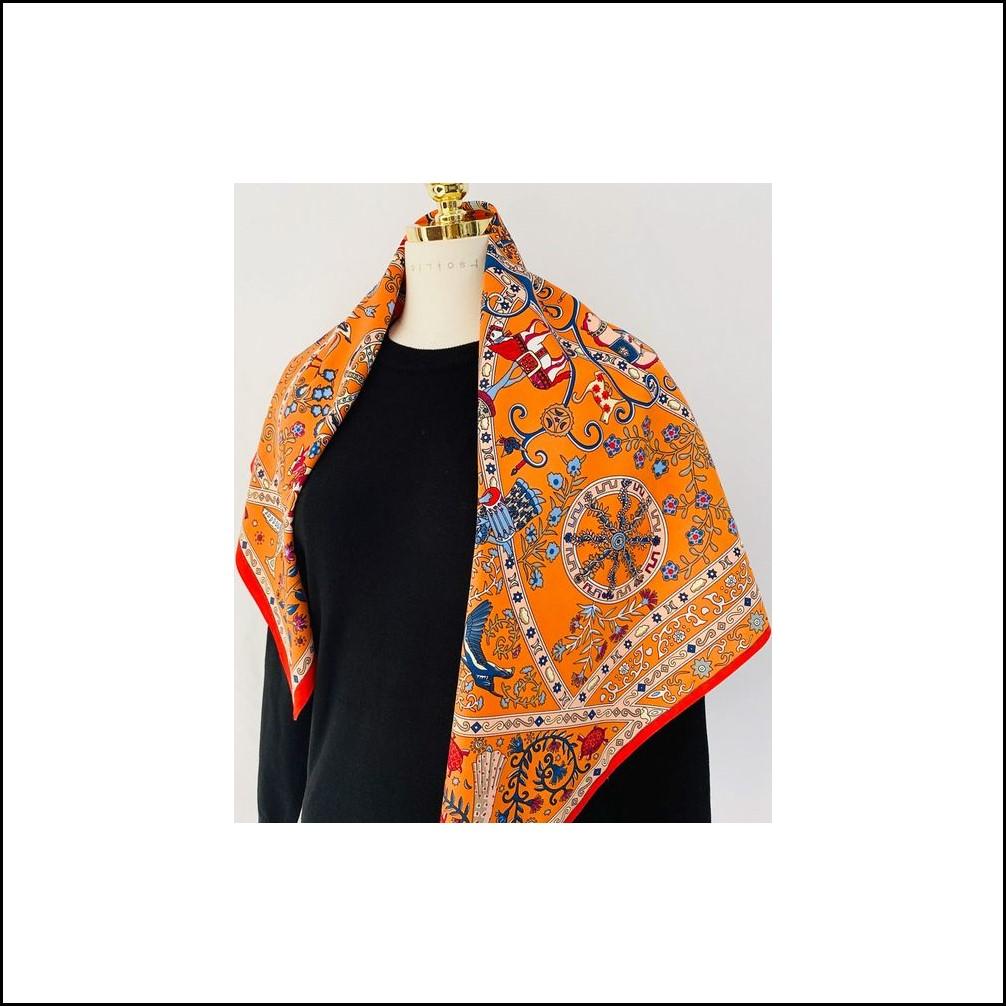 에르 서커스 사각 스카프 까레 롱 숄 실크 여성 CR611 패션소품 에르스카프 여성스카프 pnvi