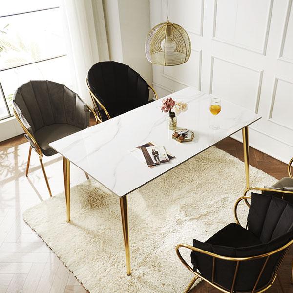 [저스틴퍼니처]피오나 4인 골드 통세라믹 식탁, 화이트마블-의자제외