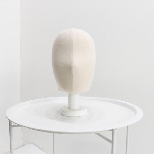 지엔디스플레이 여자 남자 두상마네킹발판 얼굴마네킹 머리모형 모자받침대 머리띠거치대 마네킹, 1개, 남성 광목 두상 + 흰색 발판