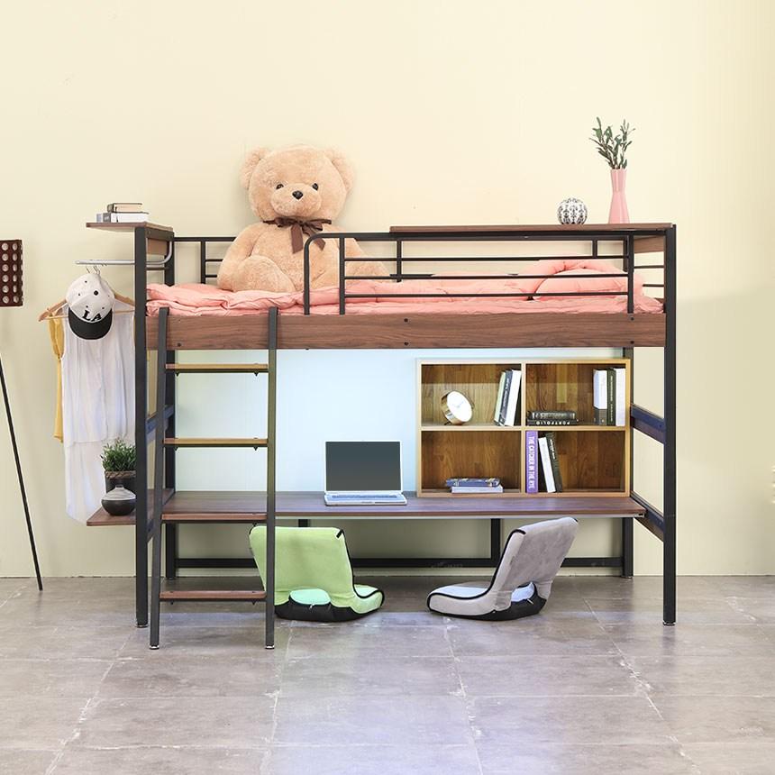 오키멧 북카페W 좌식 책상 침대 (수퍼싱글), 블랙(매트제외)