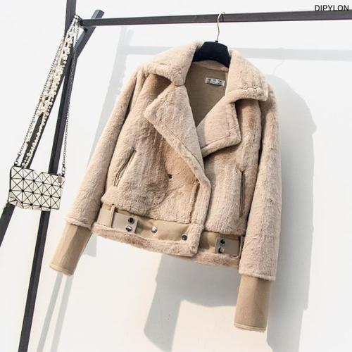여성 벨티드 블루종 양털 퍼 무스탕 자켓