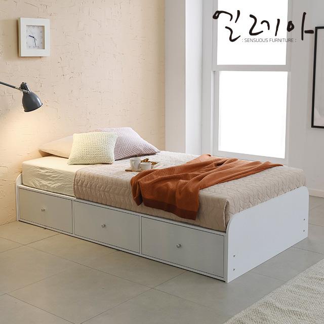 엘레아 마스터 수납 슈퍼싱글 침대, 1_1.마스터 3서랍 슈퍼싱글침대(일반형)_화이트B2B001WW