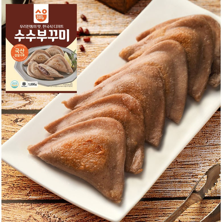 쿠킹베이스 수수부꾸미 수수팥떡 1kg (25개), 1팩