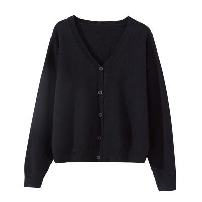 여성용가디건 Sandro Moscoloni뉴타입 싱글버튼 블랙 루즈핏 V칼라숏 타입털옷 여자외투 가디건