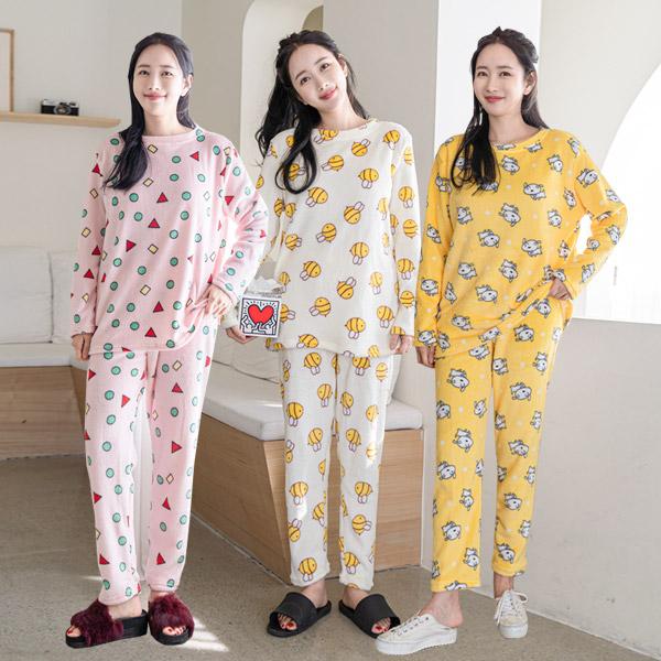 라이트 밍크 수면잠옷 상하세트 3종택 1