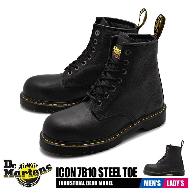 닥터 마틴 세이프티화 남성 레이디스 아이콘 7B10스틸 투 신발 신발 블랙 블랙 안전 작업 Dr.Martens ICO