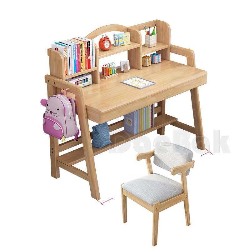 주니어원목책상 심플가정용침실책상 북유럽책꽂이책상, 0.8m+Z의자세트 원목싱글서랍