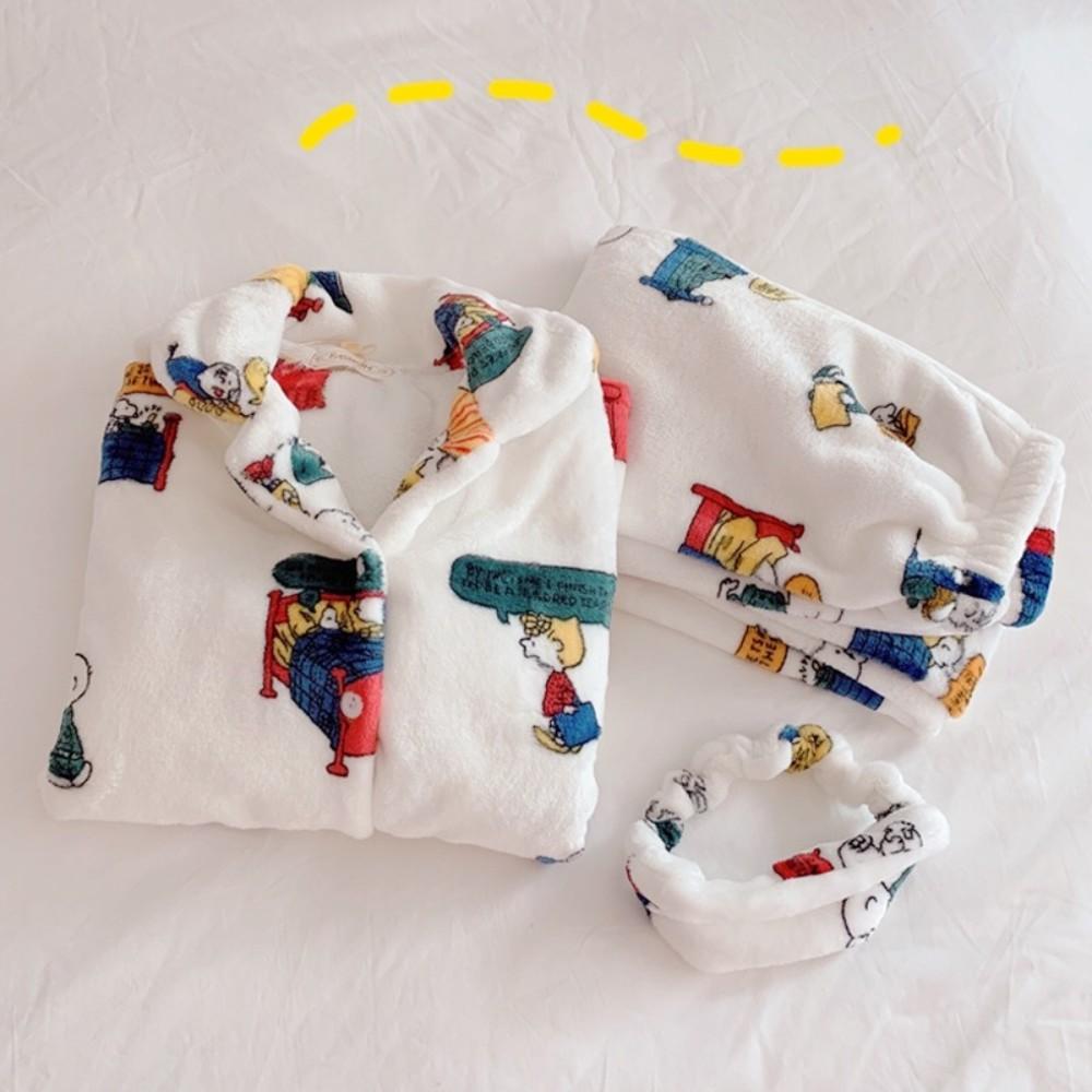 스누피 잠옷 찰리브라운 신혼 커플 극세사 수면잠옷 세트