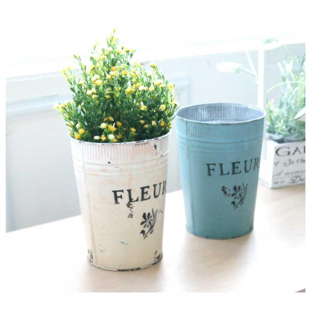 빈티지 다용도통 꽃 화분 소품 보관함 홈가드닝 식물인테리어 꽃병 화분쇼핑몰 정원인테리어 센스있는선물, 블루
