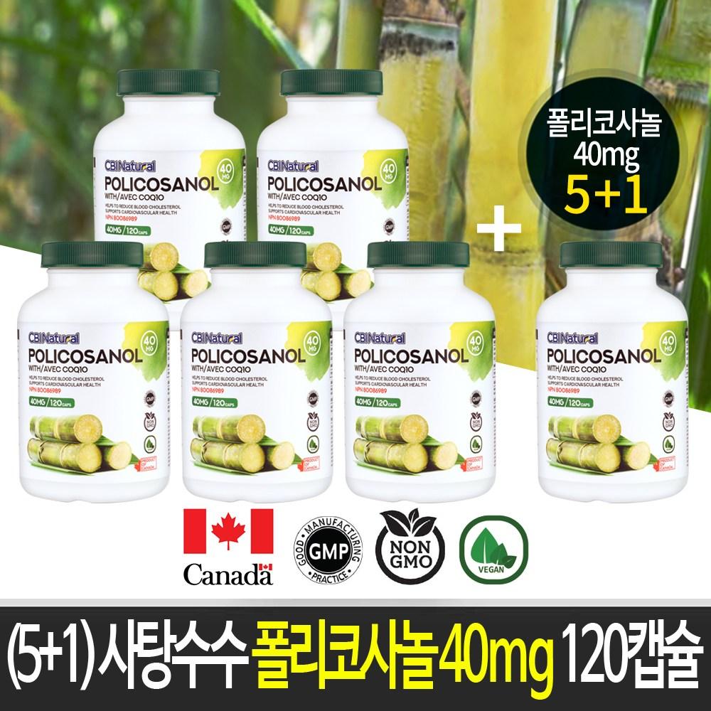 CBI (5+1)사탕수수 폴리코사놀 40mg 120캡슐 캐나다 생산 직발송, 6개