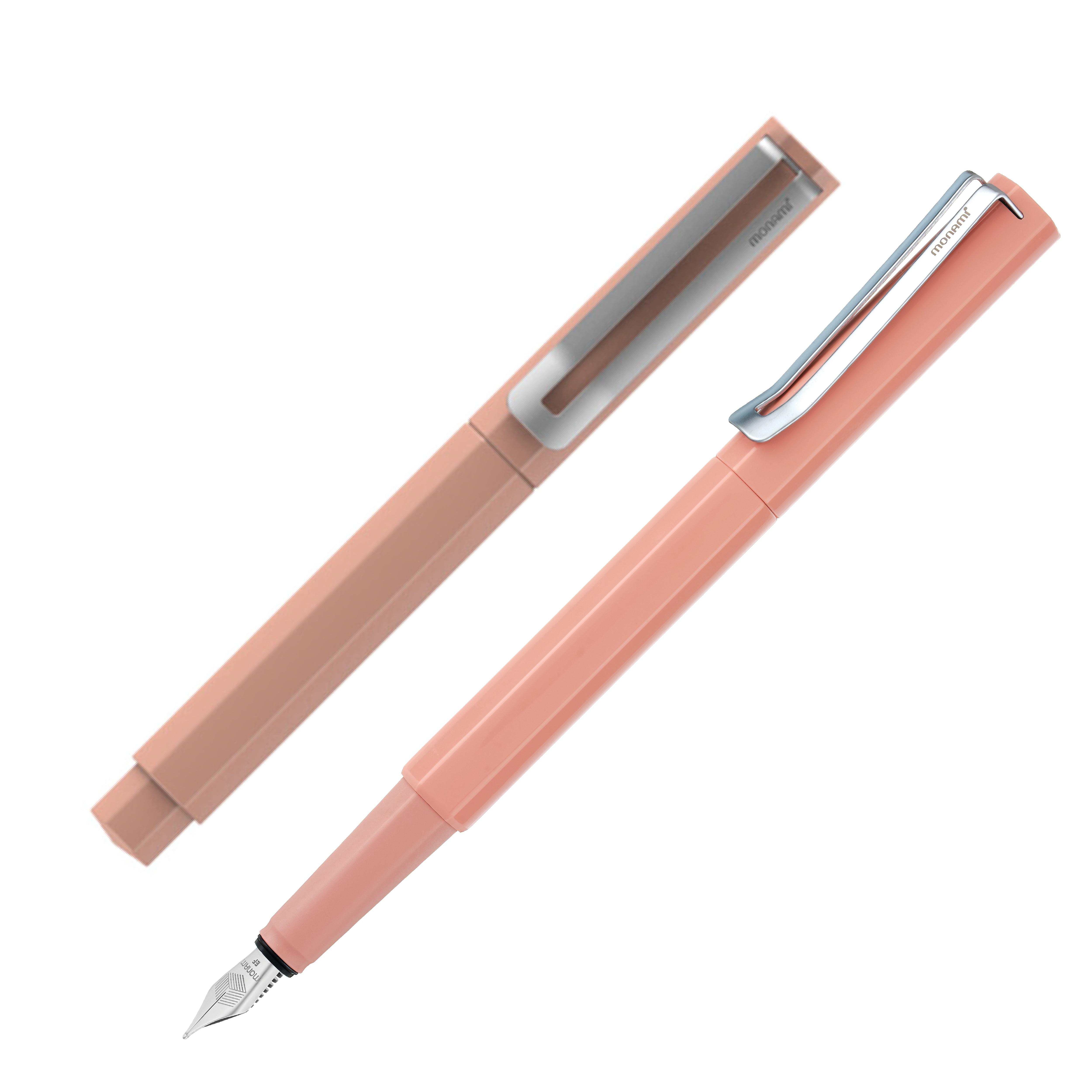 모나미 153 네오 만년필 EF 4색 카트리지 컨버터 잉크, 코랄핑크
