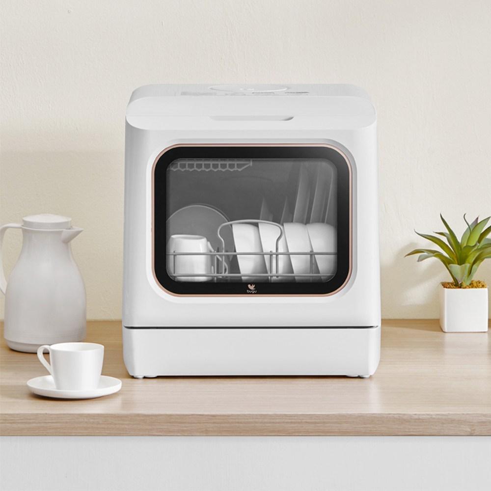 무설치 미니 자동 식기 세척기 가정용 소형 살균 스마트 식기세척기, 화이트