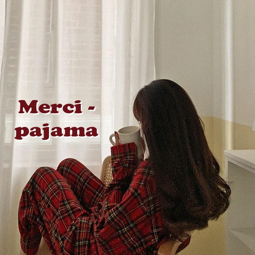 메르시 체크 파자마 겉기모 겨울 크리스마스 긴팔 잠옷