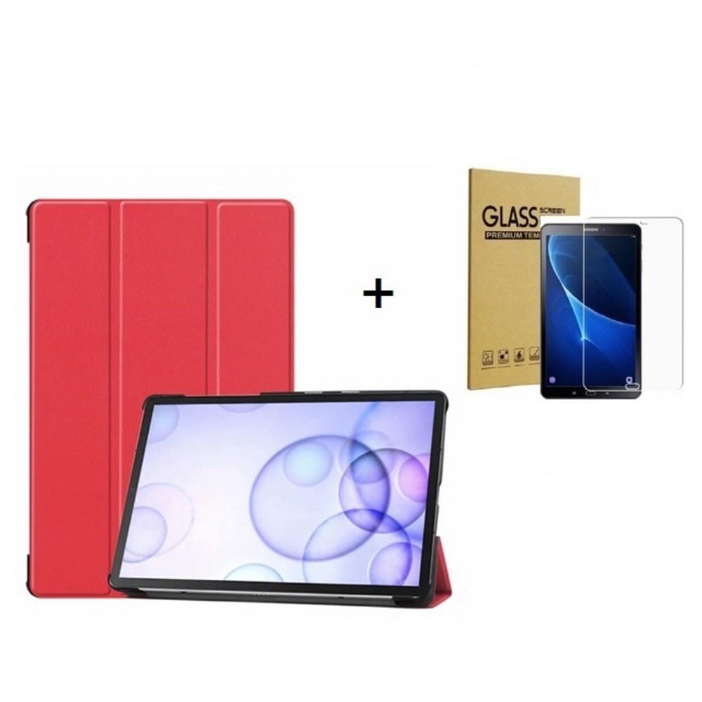 Galaxy 삼성전자 갤럭시탭A 8.0 2019 with S Pen SM-P200 SM-P205 북커버 케이스+강화유리필름, 레드