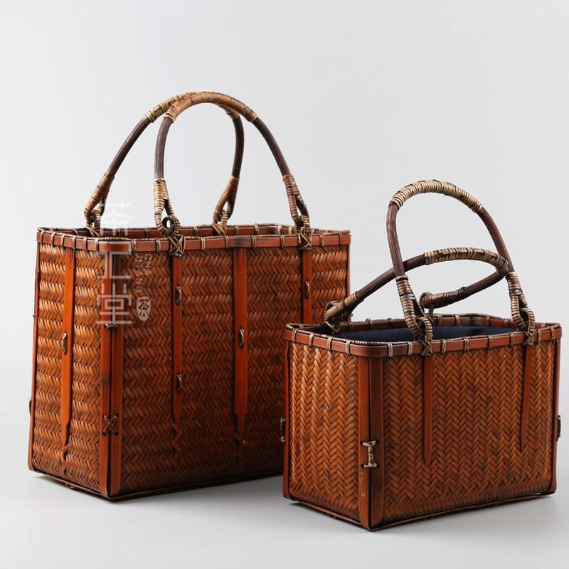 라탄바구니 피크닉바구니 일본식 복고풍 차 세트 저장 가방 휴대용 부티크 대나무 가방, 작은 대나무 가방 (사진에서 작은)