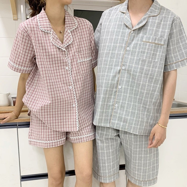 데코라멘 체크 커플잠옷 투피스 파자마 홈웨어 시밀러룩