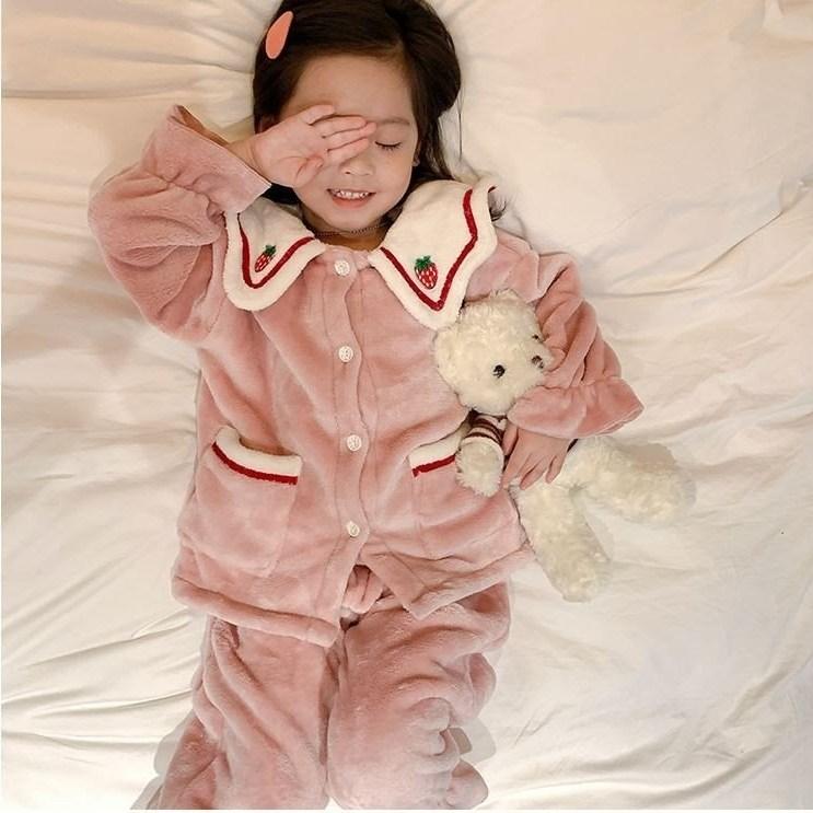 주니유니 뽀송뽀송딸기잠옷 국내배송 아동잠옷 유아잠옷 핑크잠옷