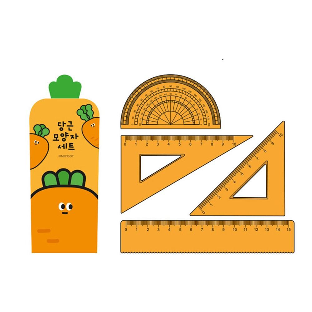 핑크풋 당근모양 자 세트, 오렌지, 1세트 (POP 242485630)