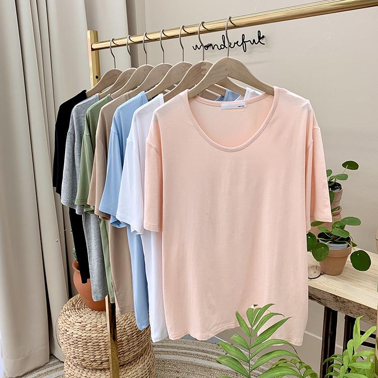 리틀린 [1+1] 봄 베이직 U넥 티셔츠 (7color)