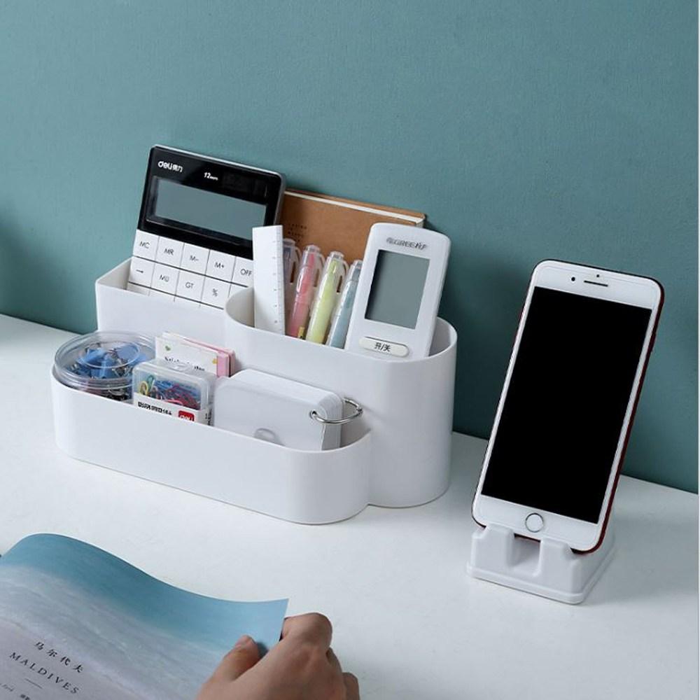 모든스토아 책상정리함 데스크오거나이저 사무실책상꾸미기, 휴대폰거치대(핑크)
