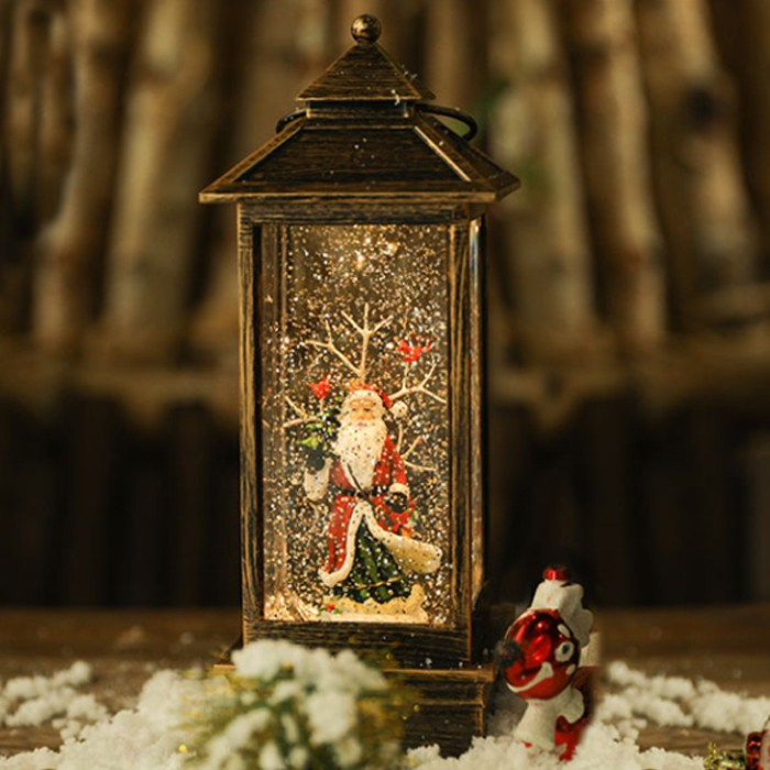 제이컴퍼니 크리스마스 사각 랜턴 오르골 LED 자동눈날림 워터볼 무드등 차박 캠핑 조명, 산타