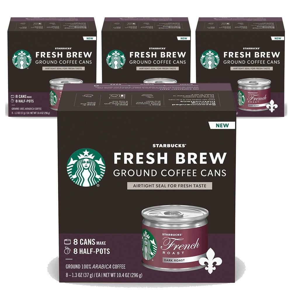 스타벅스 Starbucks Fresh Brew Ground Coffee Cans French 프레시 브루 프렌치 로스트 37g 32캔, 1g, 1