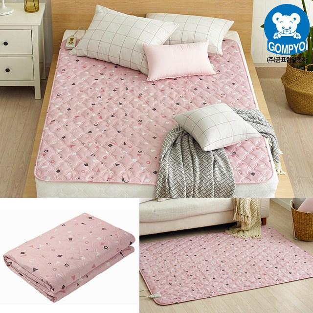 전자파 안심 전기요 침대용 거실용 캠핑용 전기장판 1인용 2인용, 대형(135cm × 180cm), 보니 핑크