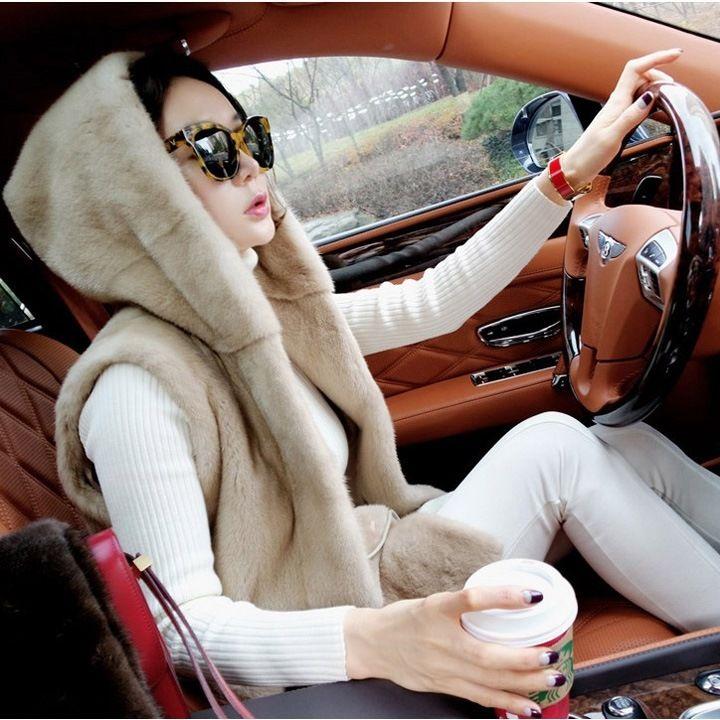 여성 퍼조끼 인조밍크 페이크퍼 겨울조끼 퍼베스트 루즈핏 후드 밍크코트 렉스털