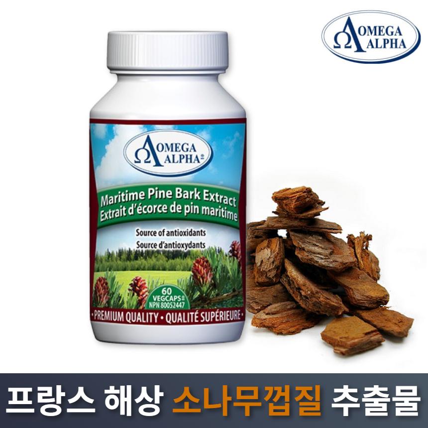 오메가알파 프랑스 해상 소나무껍질 추출물 피크노제놀 60정 프로안토시아니딘 파인 바크 캐나다직구, 1개