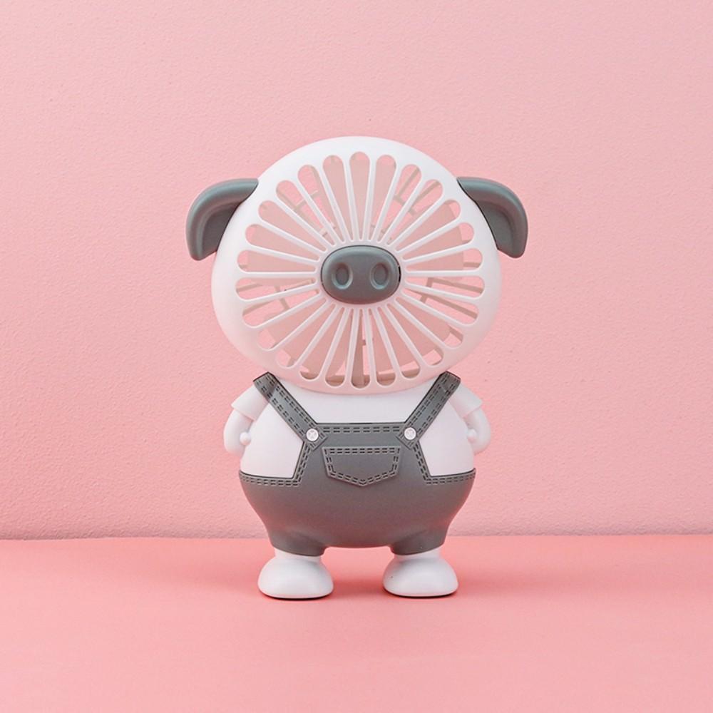 돼지 캐릭터 선풍기 휴대용 쿨링 팬 탁상 스탠드 직장인 미니 귀여운 손풍기 캠핑 차박, 회색 (POP 5227180236)