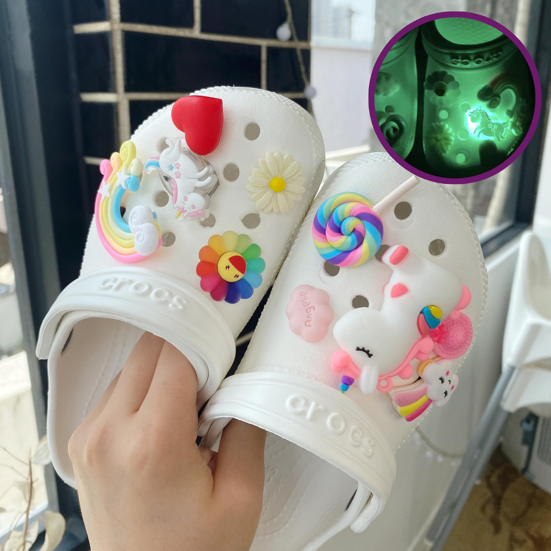 유니콘 신발 파츠 세트 led파츠 포함 입체 무지개 3D 하트 꾸미기 피규어 야광-15-5580412639