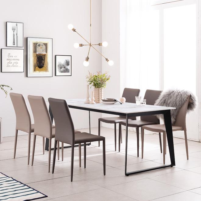 아놀드 화이트 포세린 통세라믹 6인용 식탁 세트 1800, 1800식탁+의자6개(색상 배송메세지 기재)