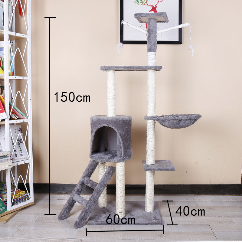 원목 캣타워 고양이 집 장난감 기둥 별장 벽 대형 놀이 집, 5층 전 검마 계단식 (라이트그레이