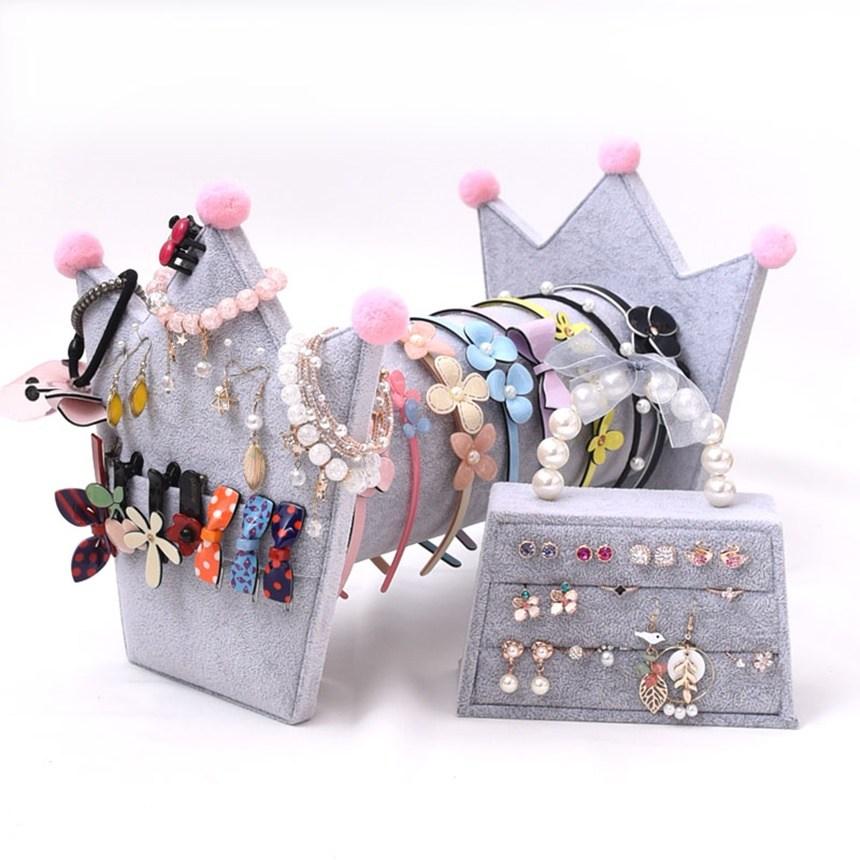 BORYSU 크라운 모형 머리띠 보관 머리띠정리대, 1개, 핑크