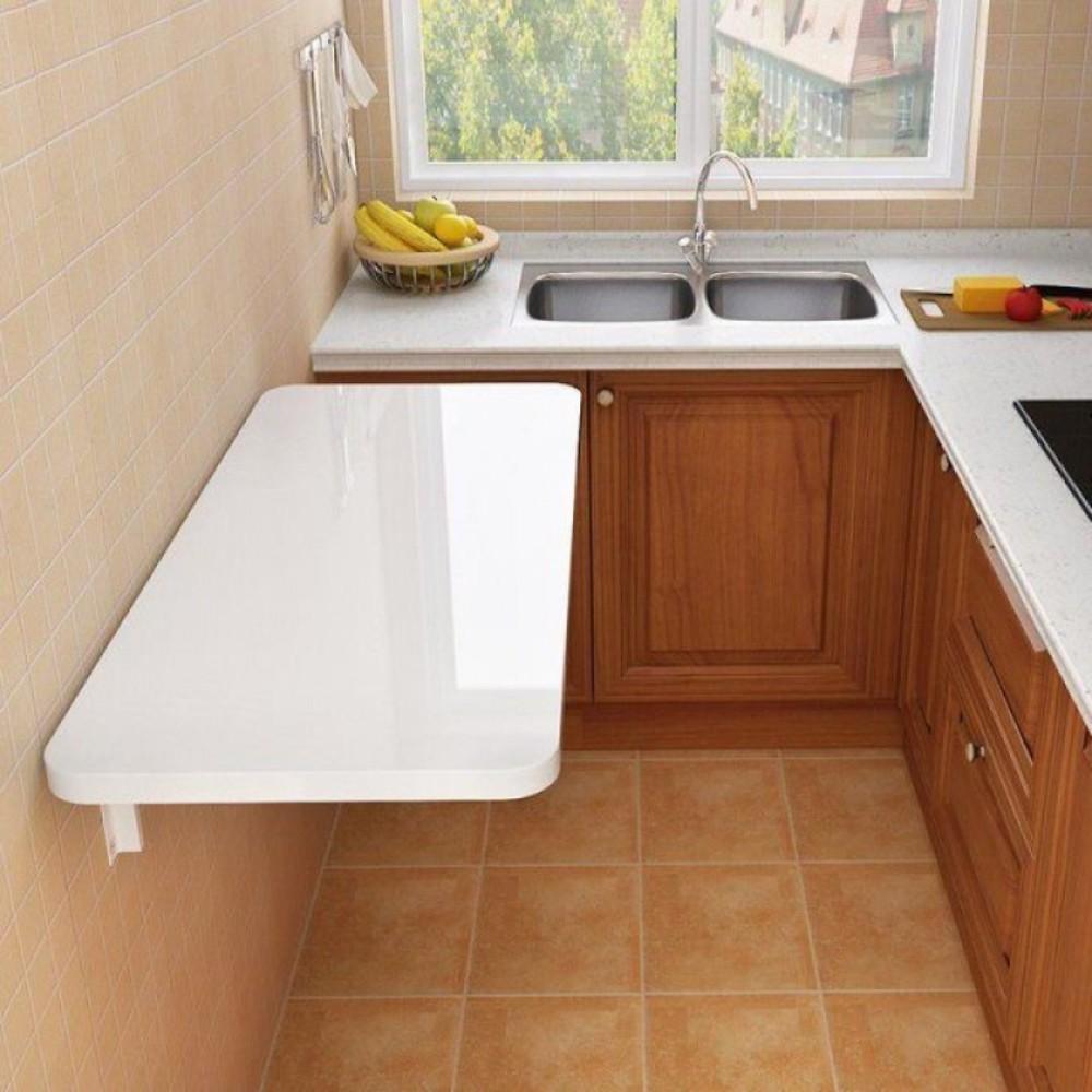 테이블 반원 침대 틈새 선반 모듈 가구 접이식 식탁 소형 주방 탁상용 심플, 화이트50x30
