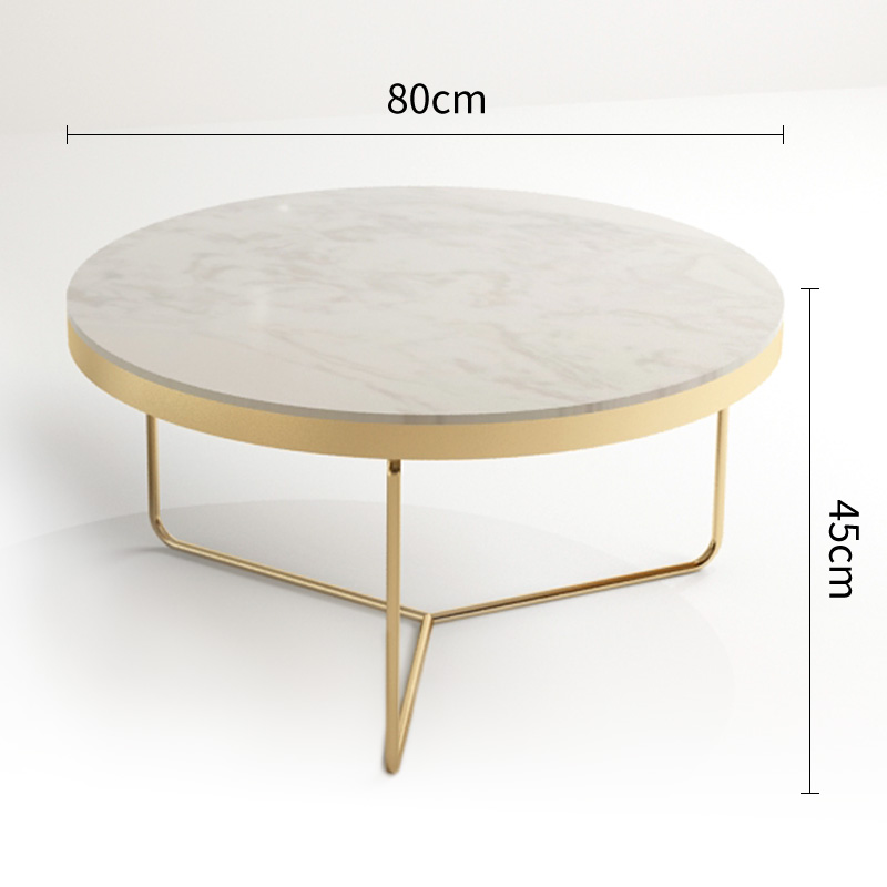 북유럽 대리석 수조 커피 테이블 간단한 거실 그물 고급 철 라운드 간단한 차 조합 작은 아파트, 큰 흰색