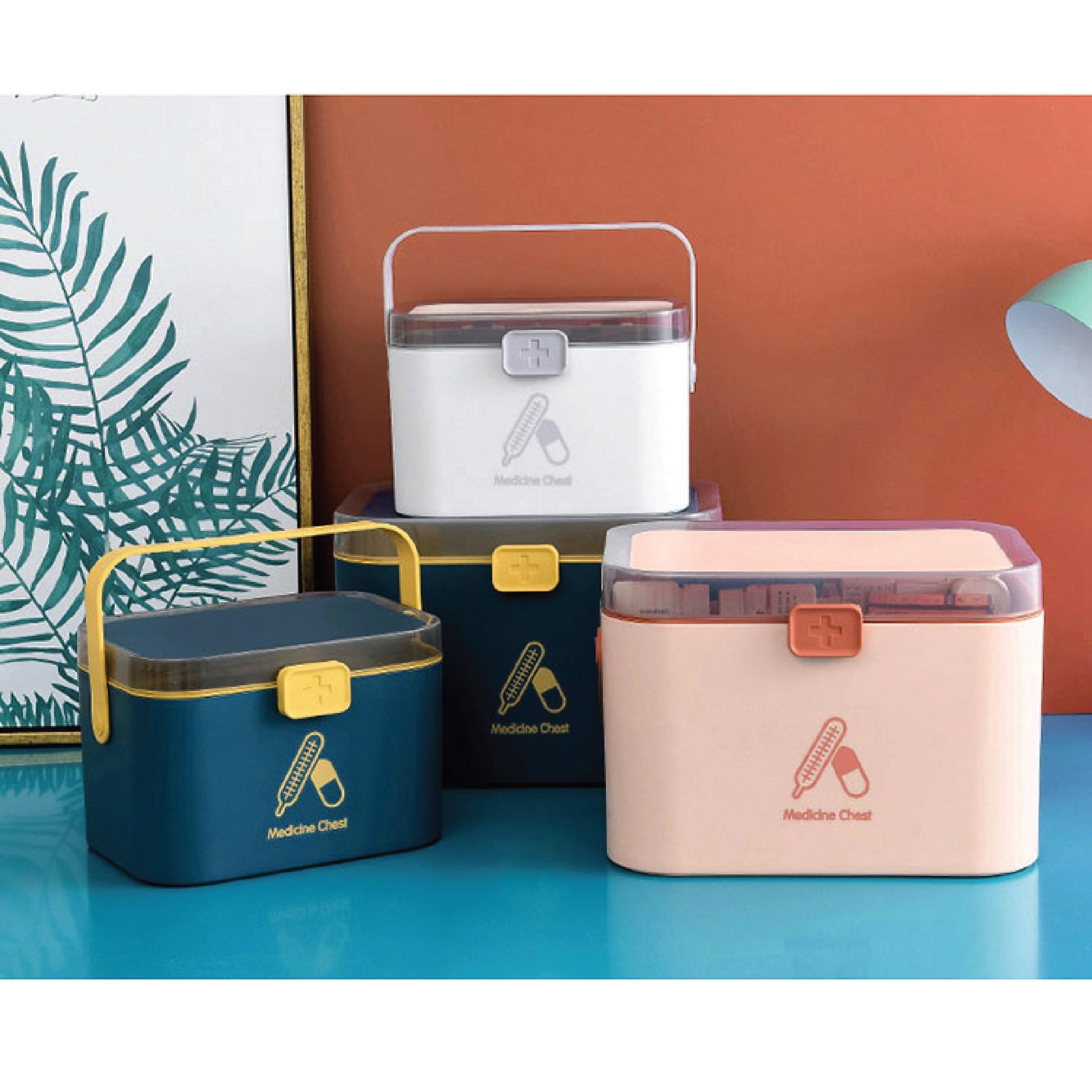 2단분리형 가정용 다이소구급상자 구급함 약통 HS-1, 핑크, 중형 (POP 4613673283)
