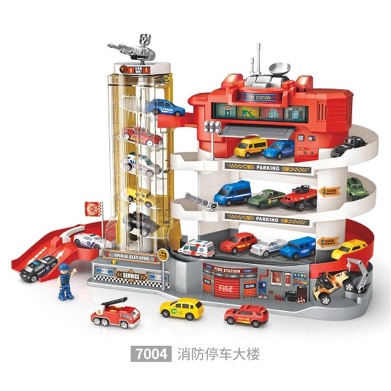 타요 주차 컨트롤 타워 빌딩 어린이 장난감, 배송 배터리+드라이버, 레드