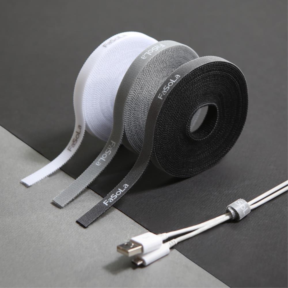 사무실 선정리 벨크로 타이 테이프 5M 블랙 간편한사용, 1개