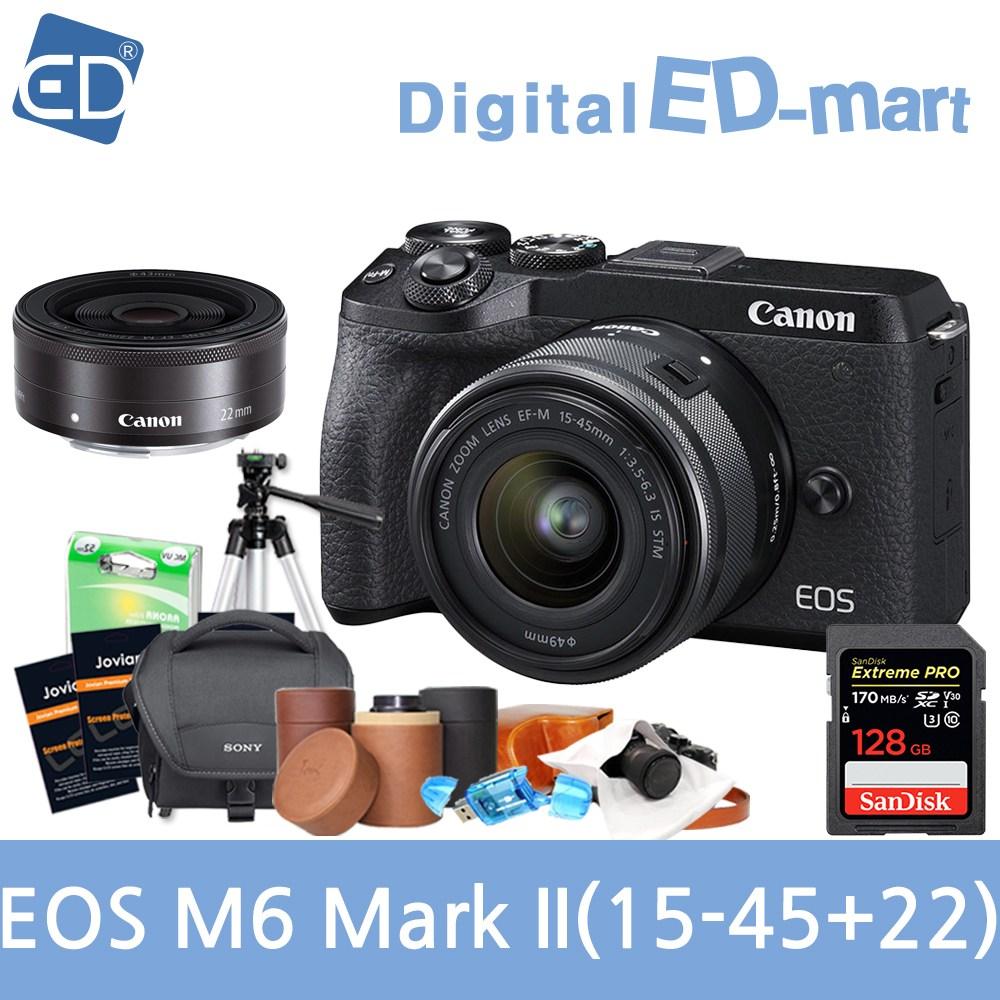 캐논 EOS M6 Mark II 15-45mm 128G패키지 미러리스카메라, 04 캐논 EOS M6 Mark II 15-45mm+22mm/128G+10종패키지 실버