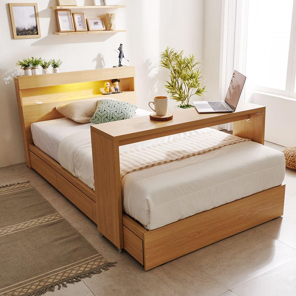 보니애가구 헤일리 LED 조명 3단 서랍형 수납 침대 슈퍼싱글 (SS) 매트리스+베드테이블 세트, 내추럴오크