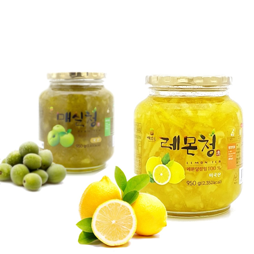 [ 수제청 과일청 ] 겨울향기 레몬청 950g + 매실청, 1set