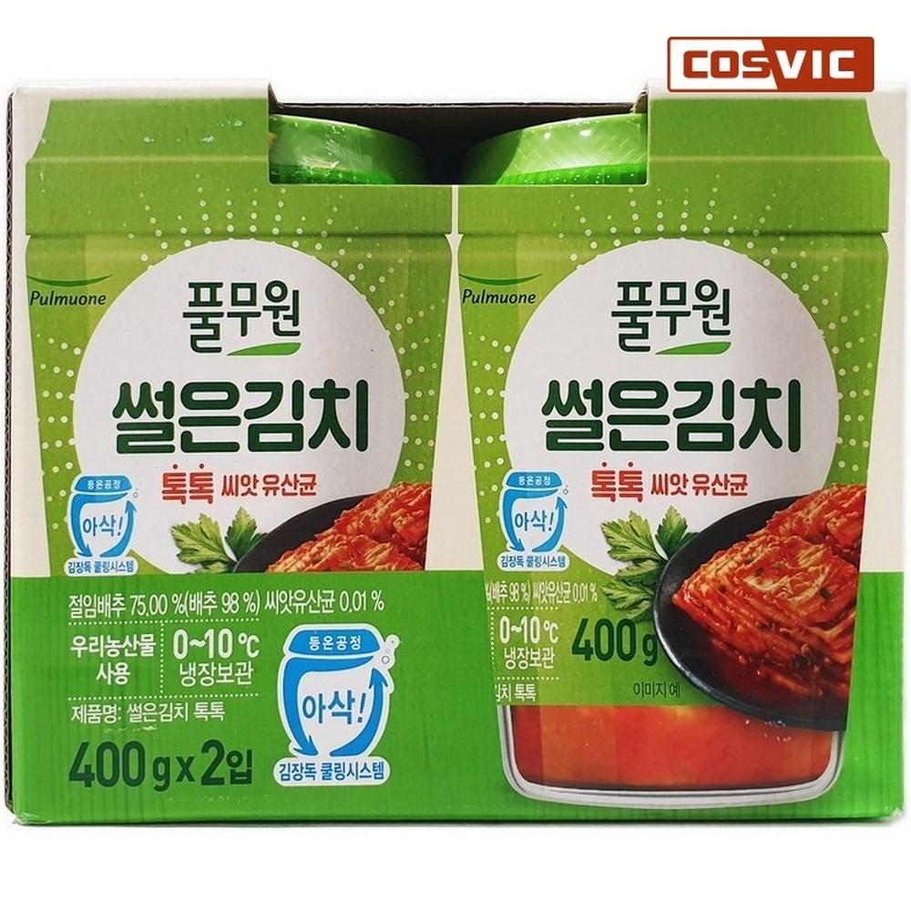 [코스빅몰] 풀무원 톡톡 썰은김치 400g x 2, 단일상품