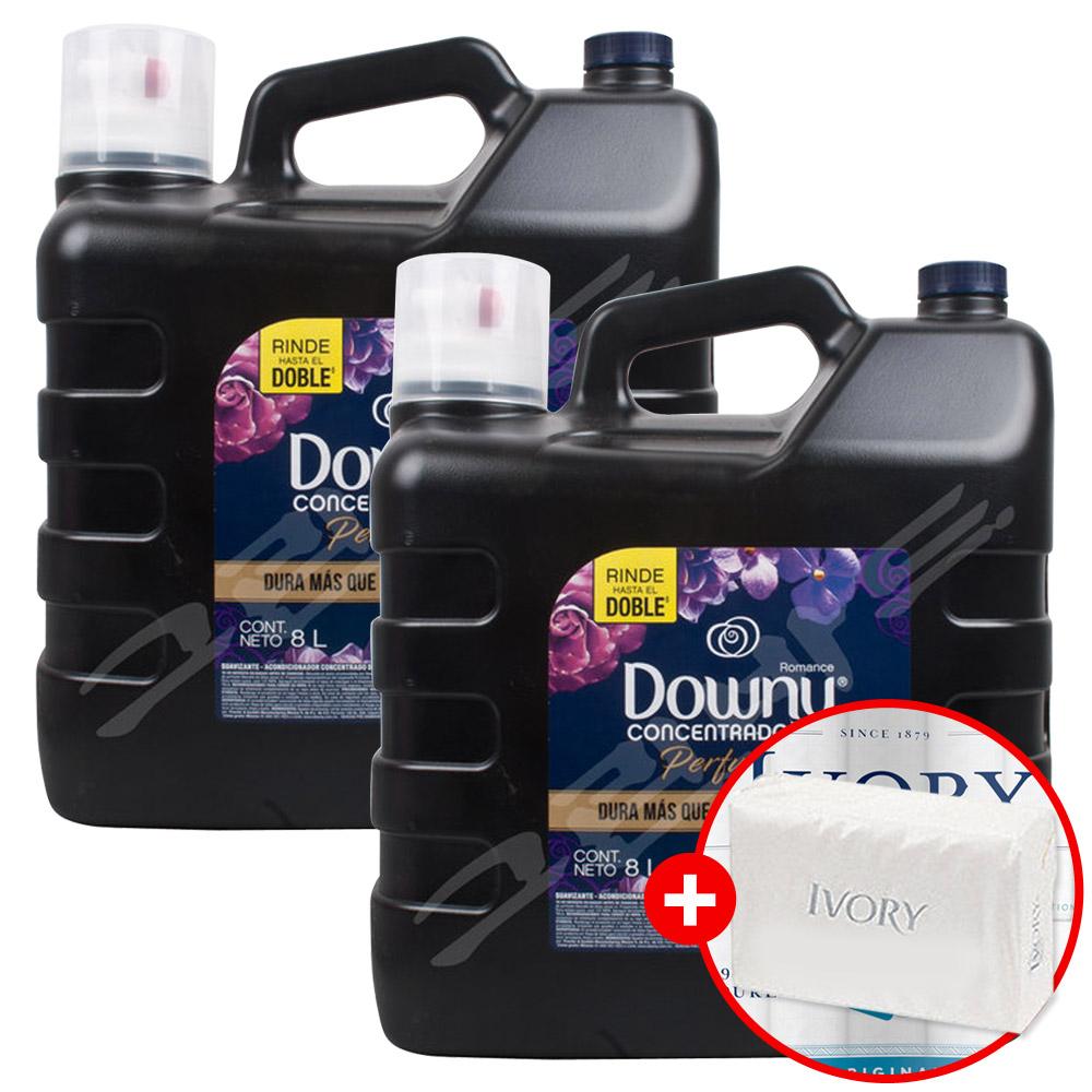 다우니 대용량 퍼퓸 섬유유연제 로맨스 8.0L x2개 + 아이보리비누, 2개, 8L