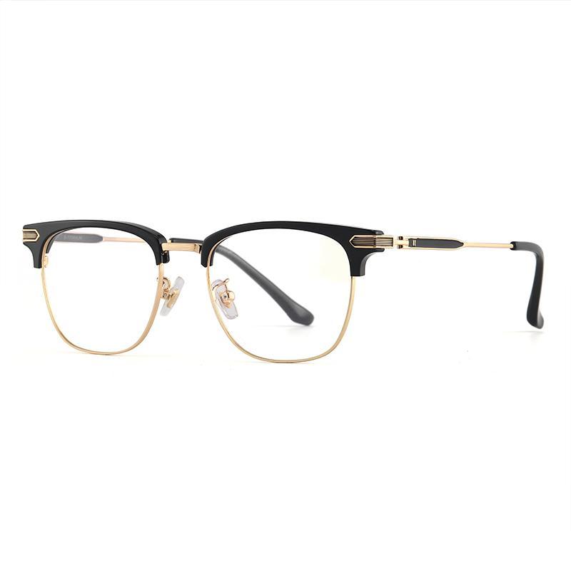 하프 프레임 안경테는 렌즈를 장착 할 수 있습니다. 남성용 큰 얼굴 마감 근시 안경. 복고풍 순수 티타늄 빅 프레임 아이 프레임 프레임