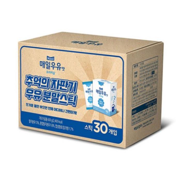 매일 우유맛 분말스틱 20g*30 어렸을적 마셨던 자판기 우유맛을 그대로 살린 뜨거운 물만 부으면 어디서든 간편하게 즐길수있음 우유맛분말스틱 우유분말스틱 자판기우유맛, 30개입, 20g