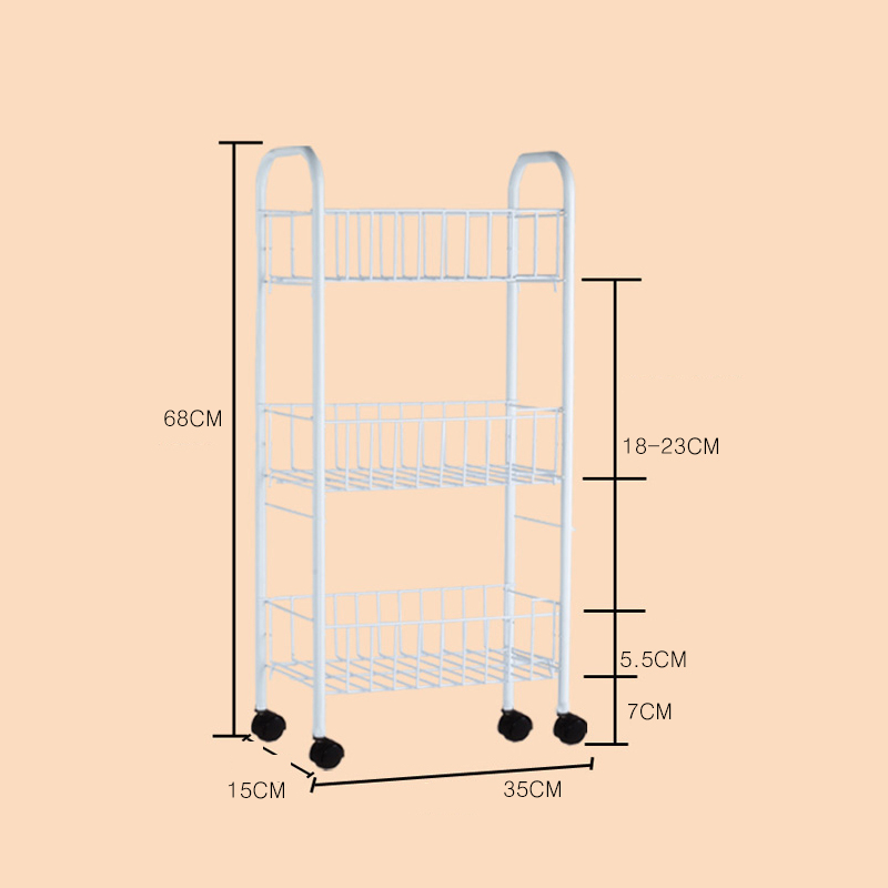 칠나무 주방 다층 캐비닛 다용도정리대 자유이동식 수납장 WPP0818-3, 사진색B-15CM (POP 1980325664)