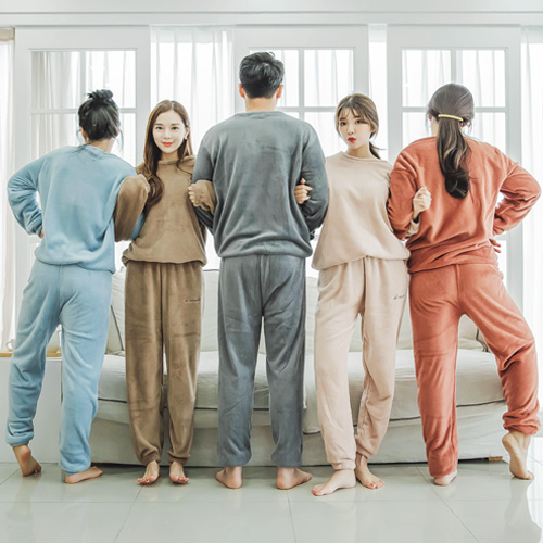 코코드림 자수 무지 커플 히터 수면잠옷 상하셋트