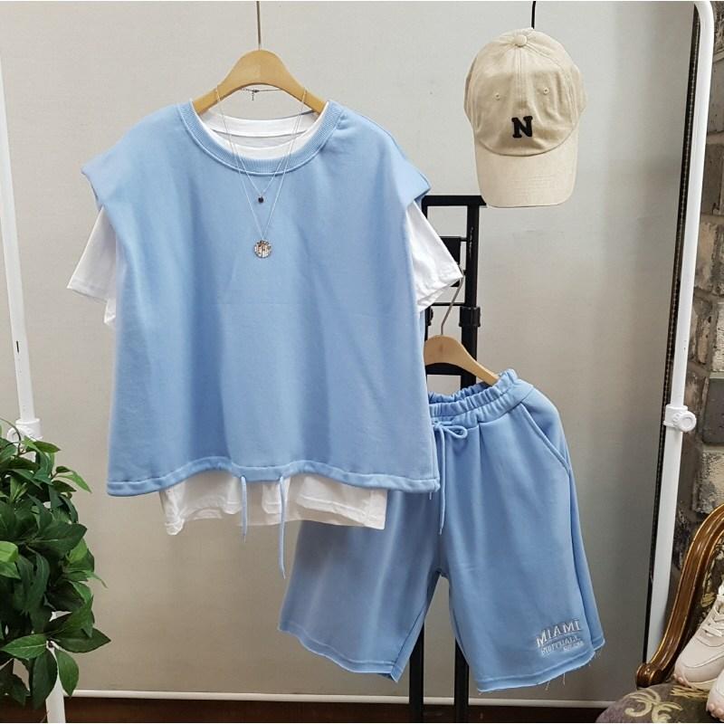 상상그이상 여성용 실켓 티셔츠 베스트 반바지 3PCS 세트